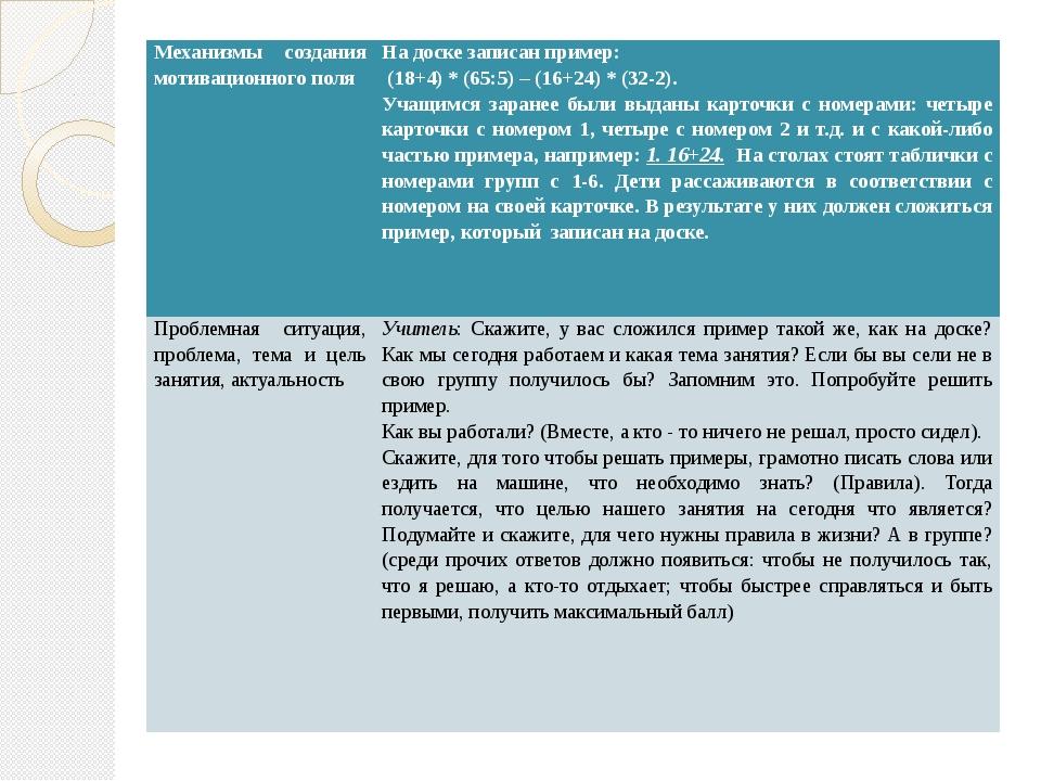 Механизмы создания мотивационного поля На доске записан пример: (18+4) * (65:...