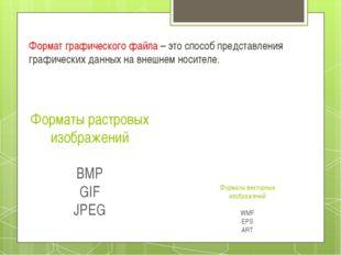 Форматы растровых изображений BMP GIF JPEG Формат графического файла – это сп