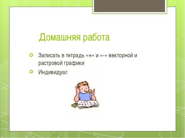 Домашняя работа Записать в тетрадь «+» и «-» векторной и растровой графики Ин...