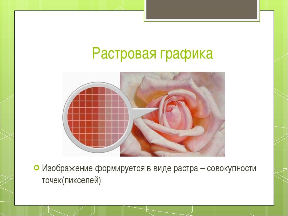 Растровая графика Изображение формируется в виде растра – совокупности точек(...