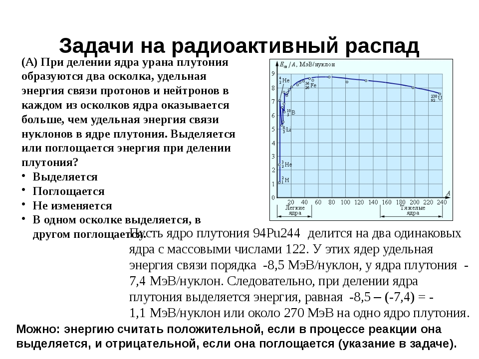 Задачи на радиоактивный распад (А) При делении ядра урана плутония образуются...