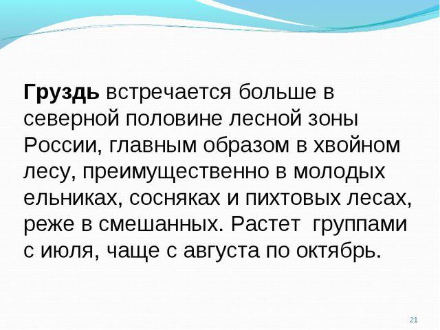 * Груздь встречается больше в северной половине лесной зоны России, главным о...