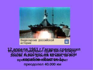 12 апреля 1961 г Гагарин совершил полет в космос на космическом корабле «Вост