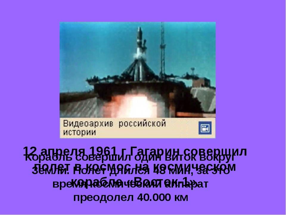 12 апреля 1961 г Гагарин совершил полет в космос на космическом корабле «Вост...