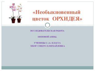 ИССЛЕДОВАТЕЛЬСКАЯ РАБОТА ПОПОВОЙ АННЫ, УЧЕНИЦЫ 2 «А» КЛАССА МКОУ СОШ№1 П.МИХА
