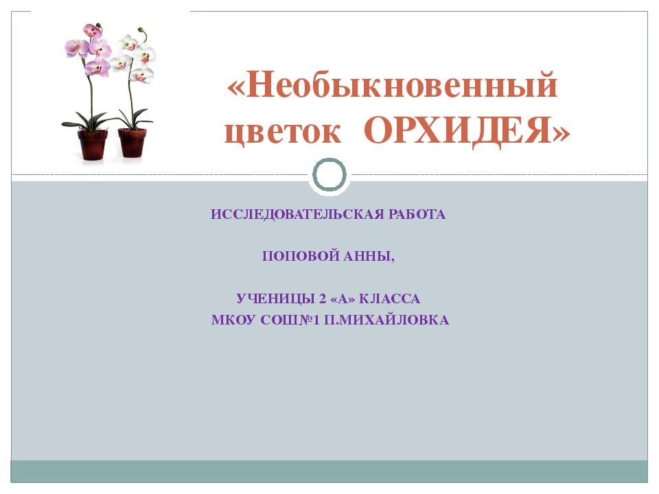 ИССЛЕДОВАТЕЛЬСКАЯ РАБОТА ПОПОВОЙ АННЫ, УЧЕНИЦЫ 2 «А» КЛАССА МКОУ СОШ№1 П.МИХА...