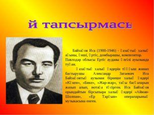 Байзақов Иса (1900-1946) - қазақтың халық ақыны, әнші, әртіс, домбырашы, ком