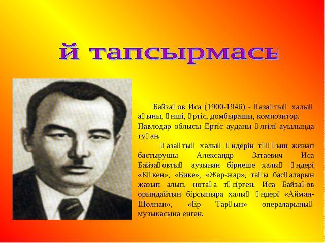 Байзақов Иса (1900-1946) - қазақтың халық ақыны, әнші, әртіс, домбырашы, ком...