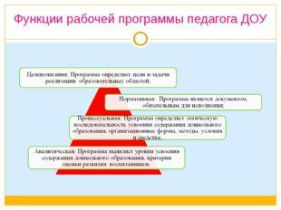 Функции рабочей программы педагога ДОУ