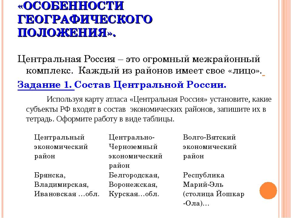 ПРАКТИЧЕСКАЯ РАБОТА. «ОСОБЕННОСТИ ГЕОГРАФИЧЕСКОГО ПОЛОЖЕНИЯ». Центральная Ро...