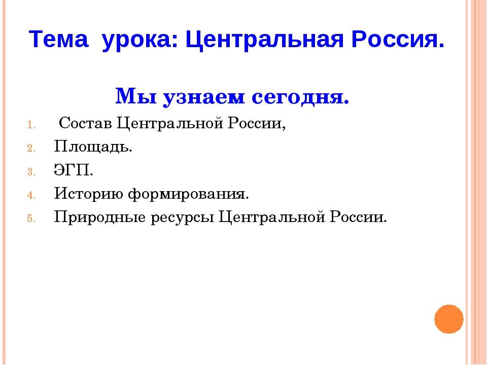 Мы узнаем сегодня. Состав Центральной России, Площадь. ЭГП. Историю формирова...