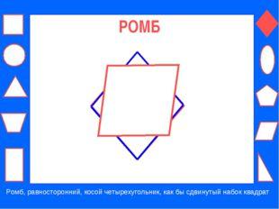 РОМБ Ромб, равносторонний, косой четырехугольник, как бы сдвинутый набок квад