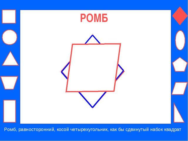 РОМБ Ромб, равносторонний, косой четырехугольник, как бы сдвинутый набок квад...