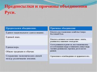Предпосылки и причины объединения Руси. Предпосылки объединения. Единое нацио
