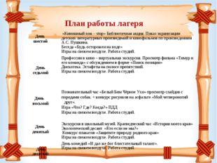 План работы лагеря День шестой  «Киношный non – stop» Библиотечная акция.