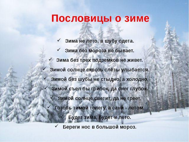 Пословицы о зиме Зима не лето, в шубу одета. Зима без мороза не бывает. Зима...