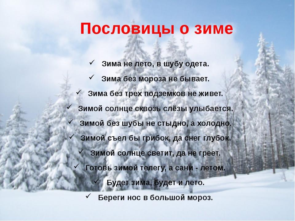 С картинками пословицы о зиме