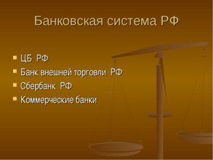 Банковская система РФ ЦБ РФ Банк внешней торговли РФ Сбербанк РФ Коммерческие