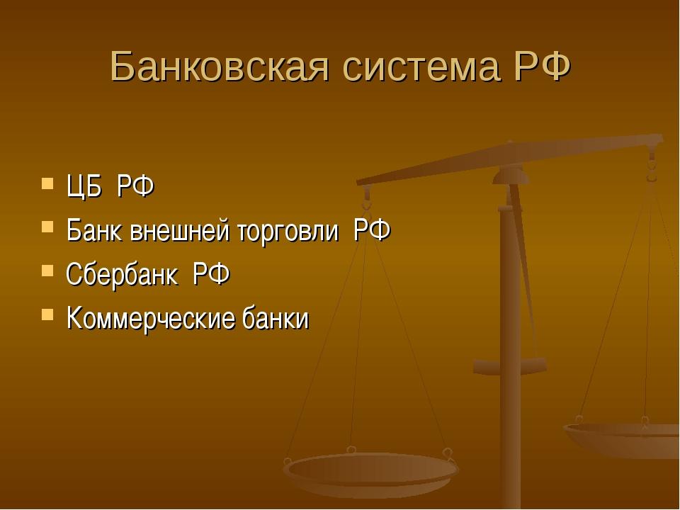 Банковская система РФ ЦБ РФ Банк внешней торговли РФ Сбербанк РФ Коммерческие...