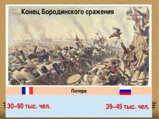 Конец Бородинского сражения Потери 30−60 тыс. чел. 39−45 тыс. чел.