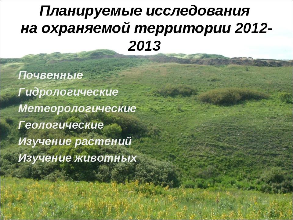 Планируемые исследования на охраняемой территории 2012-2013 Почвенные Гидроло...