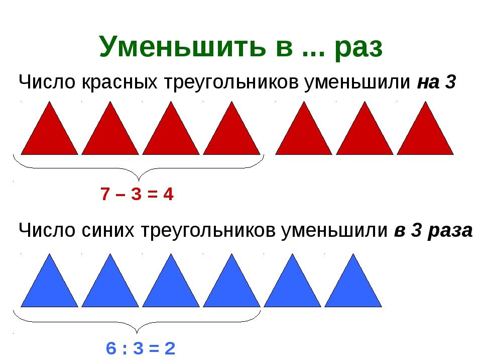 Уменьшить в ... раз 7 – 3 = 4 Число красных треугольников уменьшили на 3 Числ...