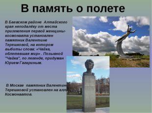В память о полете В Баевском районе Алтайского края неподалёку от места приз