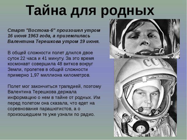 """Тайна для родных Старт """"Востока-6"""" произошел утром 16 июня 1963 года, а призе..."""