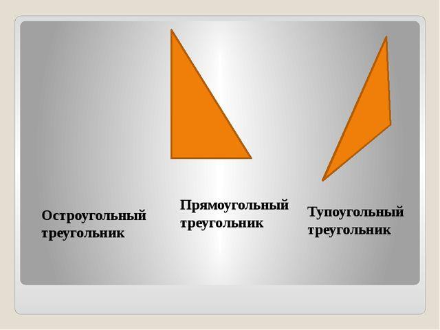 Остроугольный треугольник Прямоугольный треугольник Тупоугольный треугольник