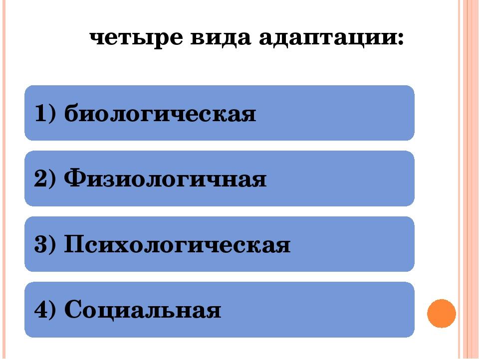 четыре вида адаптации: