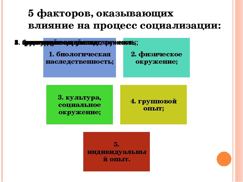 5 факторов, оказывающих влияние на процесс социализации:
