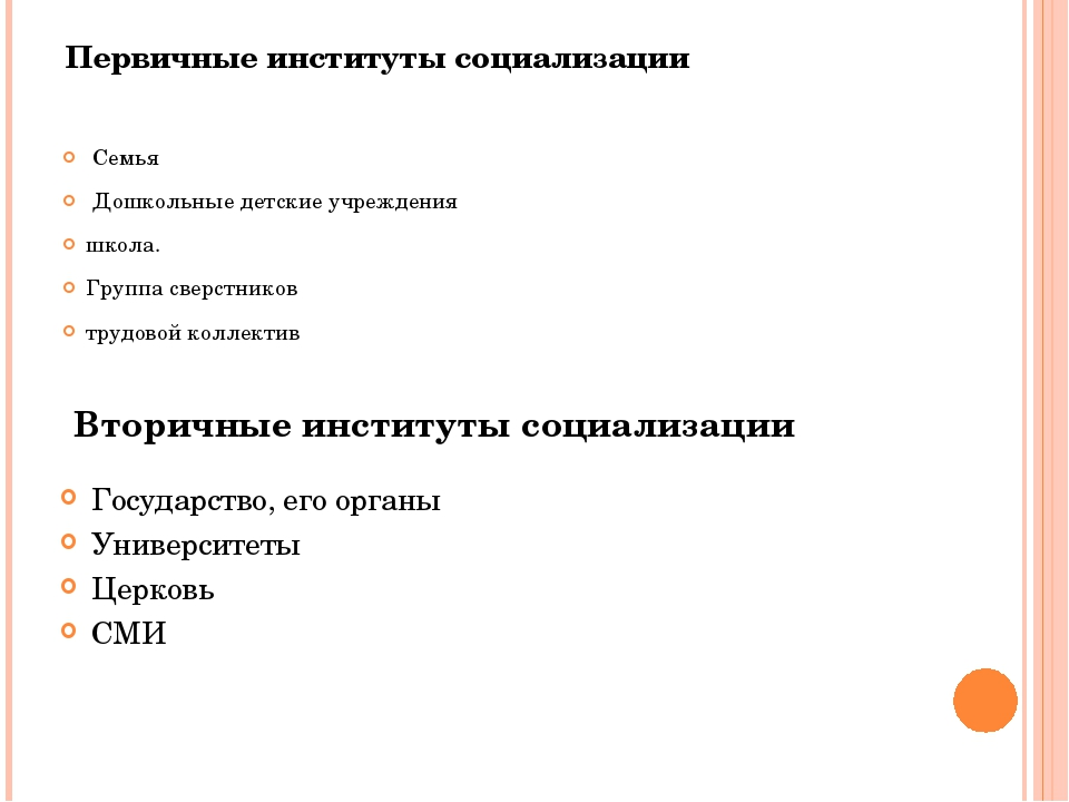 Первичные институты социализации Семья Дошкольные детские учреждения школа. Г...