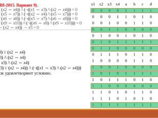 23 (Из ФИПИ-2015. Вариант 9). ((x1 ↔ x3) \/ (x2 ↔ x4)) /\ (¬((x1 ↔ x3) /\ (x2