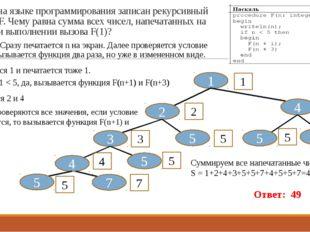 11. Ниже на языке программирования записан рекурсивный алгоритм F. Чему равна