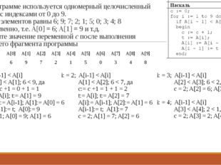 19. В программе используется одномерный целочисленный массив A с индексами от