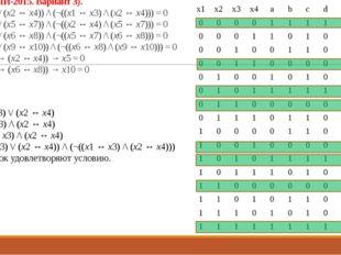 Решение: a = x1 ↔ x3 b = x2 ↔ x4 c = (x1 ↔ x3) \/ (x2 ↔ x4) d = (x1 ↔ x3) /\