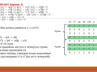 Решение: Большая скобка должна равняться 1, а х10=0. а = x5 ↔ x7 b = x6 ↔ x8