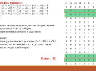 23 (Из ФИПИ-2015. Вариант 5). ((x1 ↔ x2) \/ (x3 ↔ x4)) /\ (¬((x1 ↔ x2) → (x3