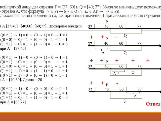 18. На числовой прямой даны два отрезка: P = [37; 60] и Q = [40; 77]. Укажите...