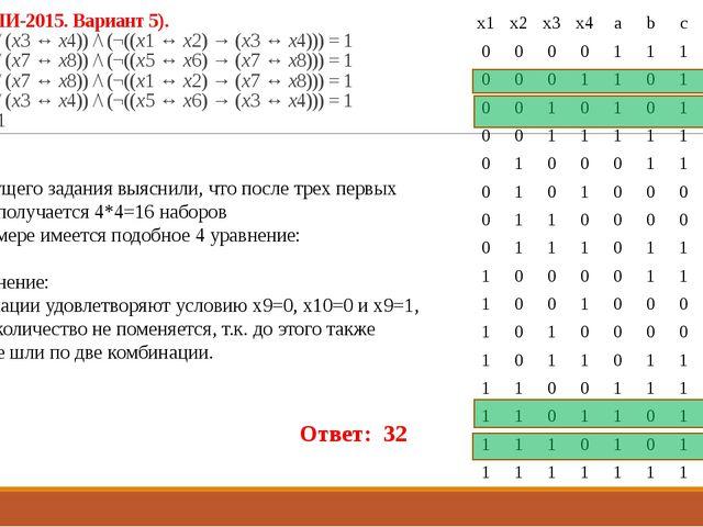 23 (Из ФИПИ-2015. Вариант 5). ((x1 ↔ x2) \/ (x3 ↔ x4)) /\ (¬((x1 ↔ x2) → (x3...