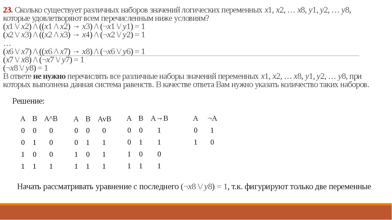 23. Сколько существует различных наборов значений логических переменных x1, x...