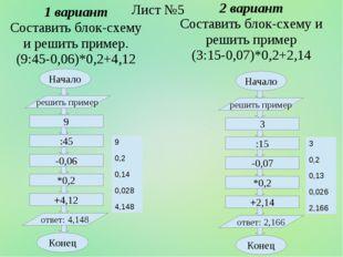 1 вариант Составить блок-схему и решить пример. (9:45-0,06)*0,2+4,12 Начало 9