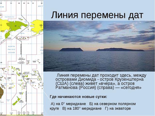 Линия перемены дат Линия перемены дат проходит здесь, между островами Диомид...