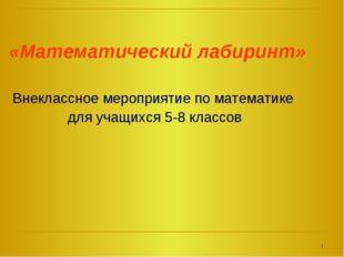 «Математический лабиринт» Внеклассное мероприятие по математике для учащихся