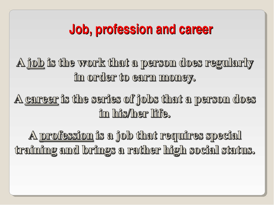 Job, profession and career