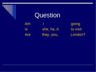 Question Am I going Is she, he, it to visit Are they, you, London?