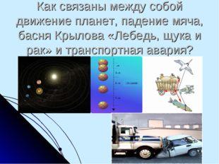 Как связаны между собой движение планет, падение мяча, басня Крылова «Лебедь,