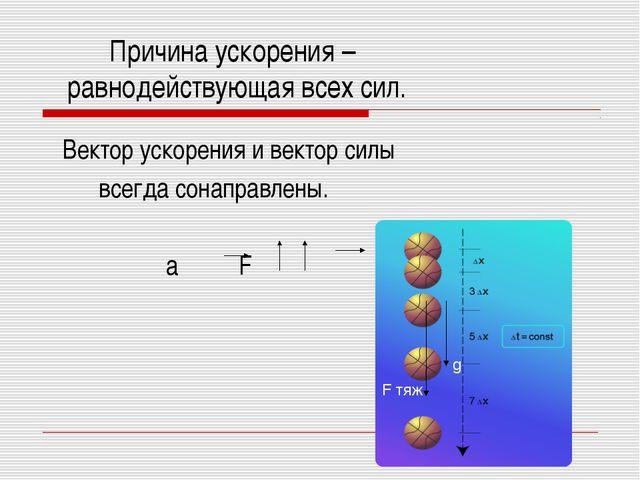 Причина ускорения – равнодействующая всех сил. Вектор ускорения и вектор сил...