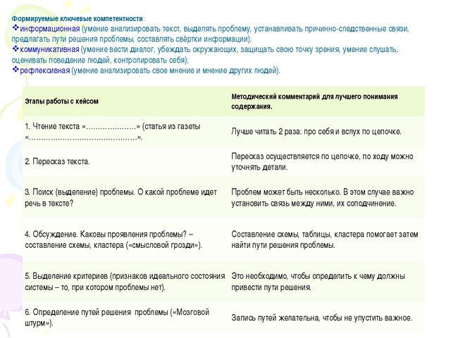Формируемые ключевые компетентности: информационная (умение анализировать тек...