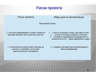 Риски проекта Риски проекта Меры для их минимизации Внутренние риски  1.На